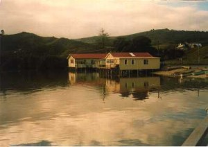 The Horeke store and a family home built over the water, standing on Manuka poles
