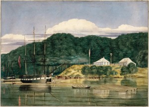 This painting is by Charles Heaphy and shows G. F. Russell's house and timber yard at Kohukohu, Hokianga Harbour, with a ship and a barque, the Francis Spaight (nearer vessel) and the Bolina (on the left) loading kauri spars; and a row-boat hauling spars.