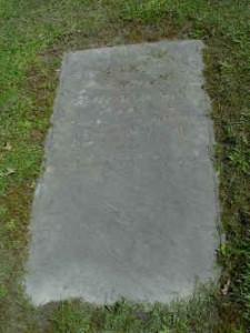 Tombstone of the first superintendent, David Clark. His headstone can still be visited. It is lying flat on the ground with the inscription from Lamentations I:12 Is it nothing to you, all ye that pass by?