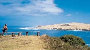 Hokianga Harbour entrance sand dunes viewed from Omapere